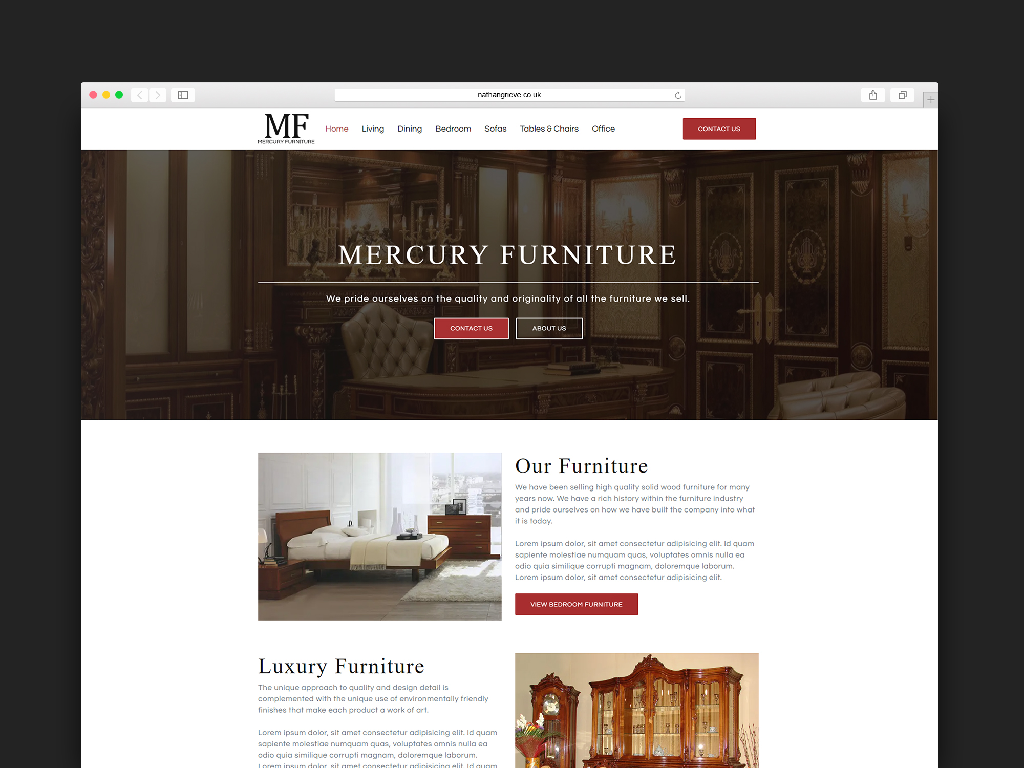 portfolio - furniture website - edinburgh web design for small business